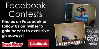 Facebook and Twitter Contest from Wall Appeals Removable Vinyl Decals