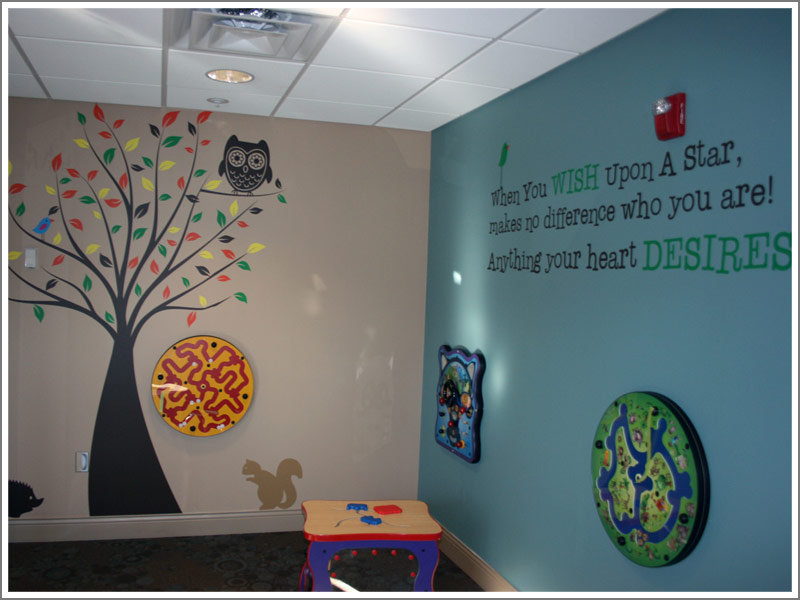 photo gallery of various words and graphics of removable vinyl wall